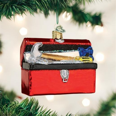 "Old World Christmas Glass Ornament - ""Toolbox"""