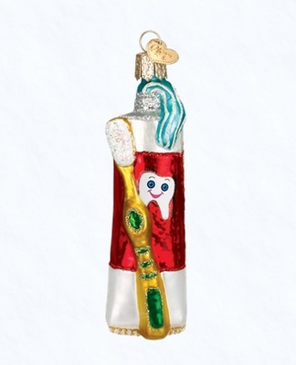"Old World Christmas Glass Ornament - ""Toothpaste & Toothbrush"""