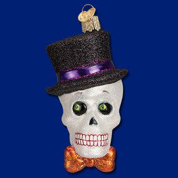 "Old World Christmas Glass Ornament - ""Top Hat Skeleton"""