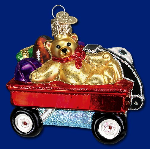 "Old World Christmas Glass Ornament - ""Toy Wagon"""