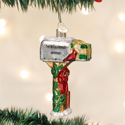 "Old World Christmas Glass Ornament - ""Welcome Home Mailbox"""