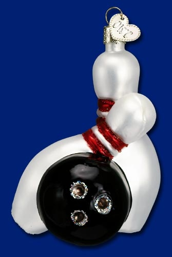 "Old World Christmas Glass Ornarment - ""Bowling Ball & Pins"""