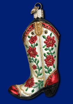 "Old World Christmas Glass Ornarment - ""Christmas Cowgirl Boot"""