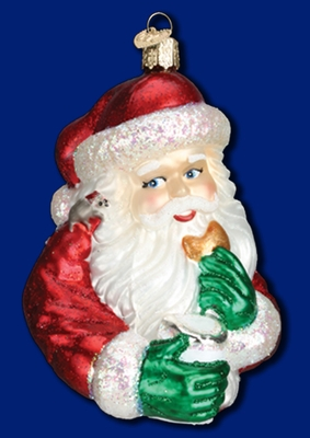 "Old World Christmas Glass Ornarment - ""Cookie Break Santa"""