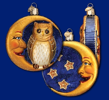 "Old World Christmas Glass Ornarment - ""Owl In Moon"""