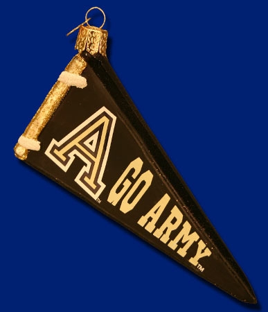 "Old World Christmas Glass Ornarment - ""Pennant - Army"""