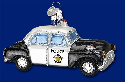 "Old World Christmas Glass Ornarment - ""Police Car"""