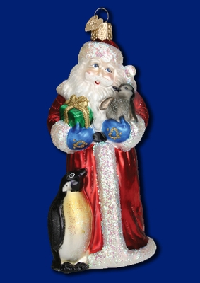"Old World Christmas Glass Ornarment - ""Santa With Penguin Pals"""