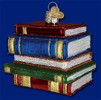 """Old World Christmas Glass Ornarment - """"Stack Of Books"""""""