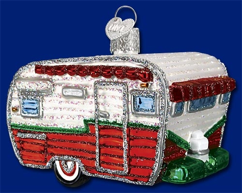 "Old World Christmas Glass Ornarment - ""Travel Trailer"""