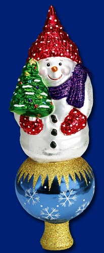 "Old World Christmas Glass Tree Topper - ""Snowman Topper"""