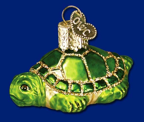 "Old World Glass Ornament - ""Small Turtle"""