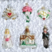 "Old World Glass Ornaments - ""Wedding Collection"" - FREE Shipping Item! Use code BRIDEFREESHIP at checkout!"