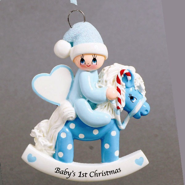 """Personalizable Christmas Ornament - """"Blue Rocking Pony"""" - First Christmas"""