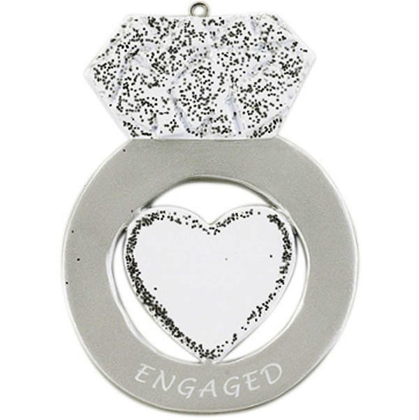 """Personalizable Christmas Ornament - """"Engagement Ring Ornament"""""""