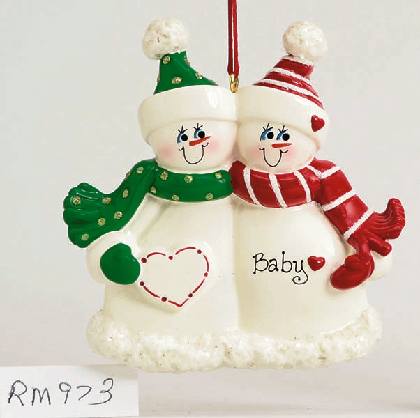 "Personalizable Christmas Ornament - ""Expecting Snow Couple Ornament"""