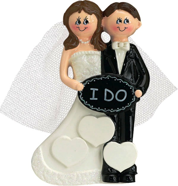 "Personalizable Christmas Ornament - ""I Do Couple"""