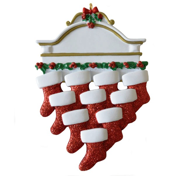 """Personalizable Christmas Ornament - """"Mantle With 10 Stockings Ornament"""""""