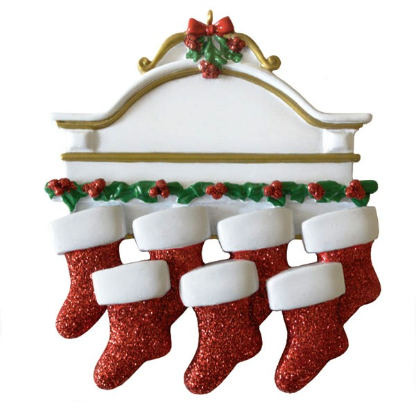 """Personalizable Christmas Ornament - """"Mantle With 7 Stockings Ornament"""""""