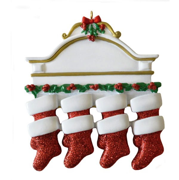 """Personalizable Christmas Ornament - """"Mantle With 8 Stockings Ornament"""""""