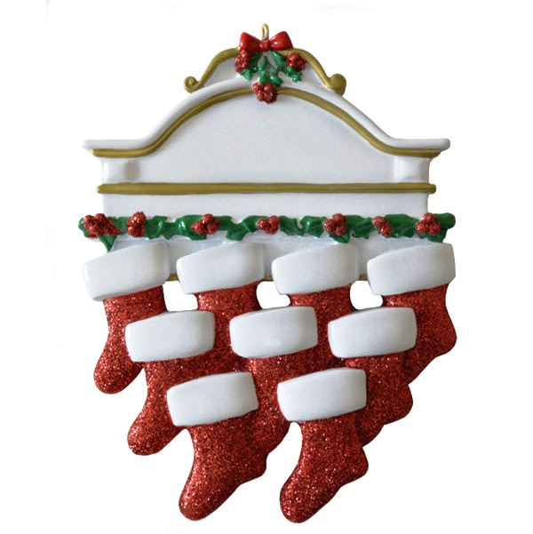 "Personalizable Christmas Ornament - ""Mantle With 9 Stockings Ornament"""