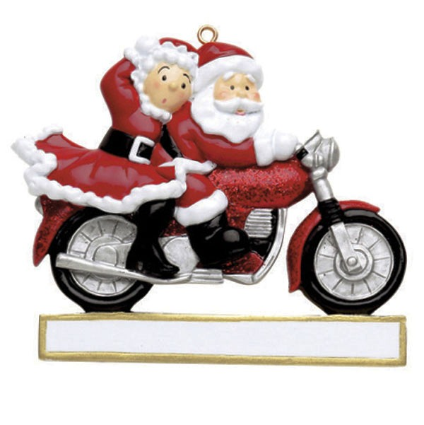"Personalizable Christmas Ornament - ""Motorcycle Couple Ornament"""