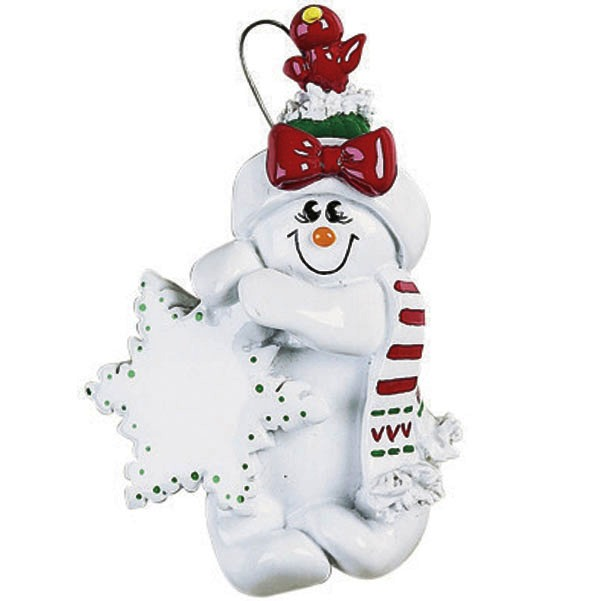 "Personalizable Christmas Ornament - ""Snowman With Bird's Nest Ornament"""