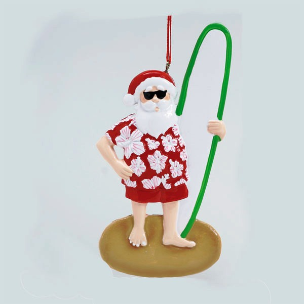 "Personalizable Christmas Ornament - ""Surfer Santa"""