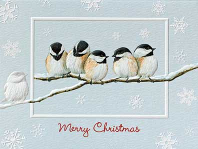 "Petite Boxed Christmas Cards - ""Chickadee Chorus"""