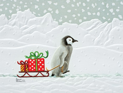 """Petite Boxed Christmas Cards - """"Gifted Penguin"""""""
