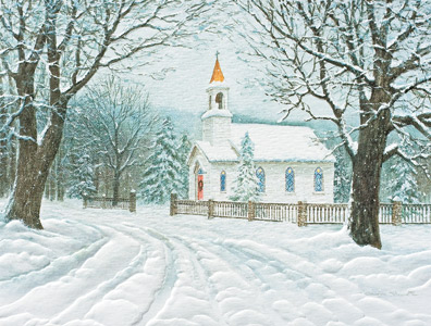 "Petite Boxed Christmas Cards - ""Rural Church"""
