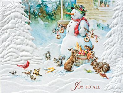 """Petite Boxed Christmas Cards - """"Snowman's Gift"""""""