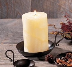 "Pillar Candle Dish - ""Iron Candle Dish"" - 5.75"""