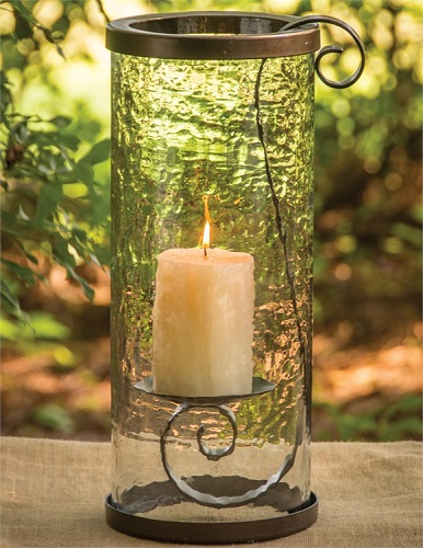"Pillar Candle Holder - ""Hanging Pillar Holder With Glass"""