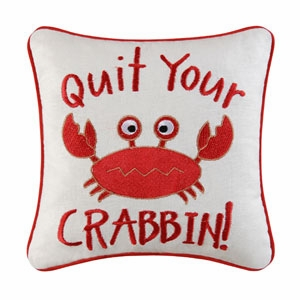"Pillow - ""Embroidered Crabbin Pillow"""