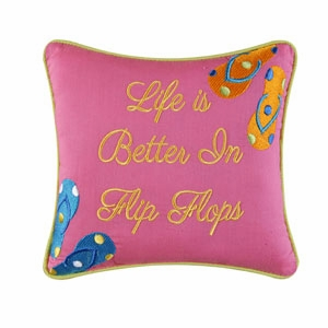 "Pillow - ""Embroidered Flip Flop Pillow"""