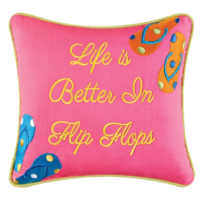 Decorative Embroidered Pillow - Better in Flip Flops - 10in