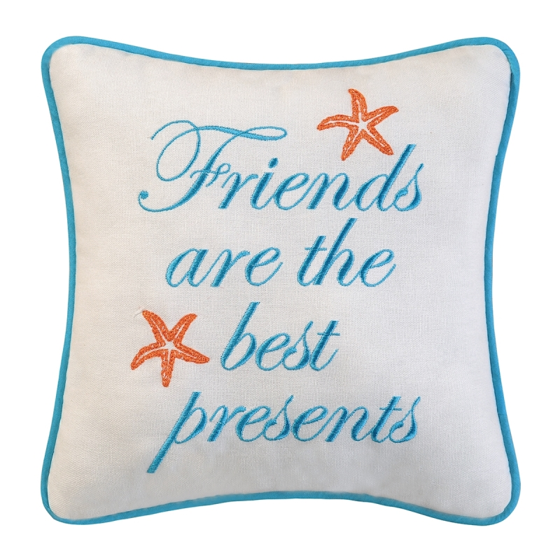 Decorative Embroidered Pillow - Friends Are Best Presents - 10in