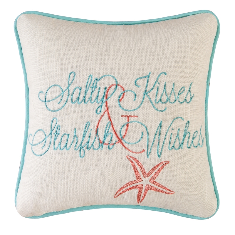 Decorative Embroidered Pillow - Salty Kisses - 10in