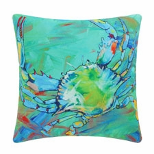 "Pillow - ""Underwater Blue Crab Pillow"""