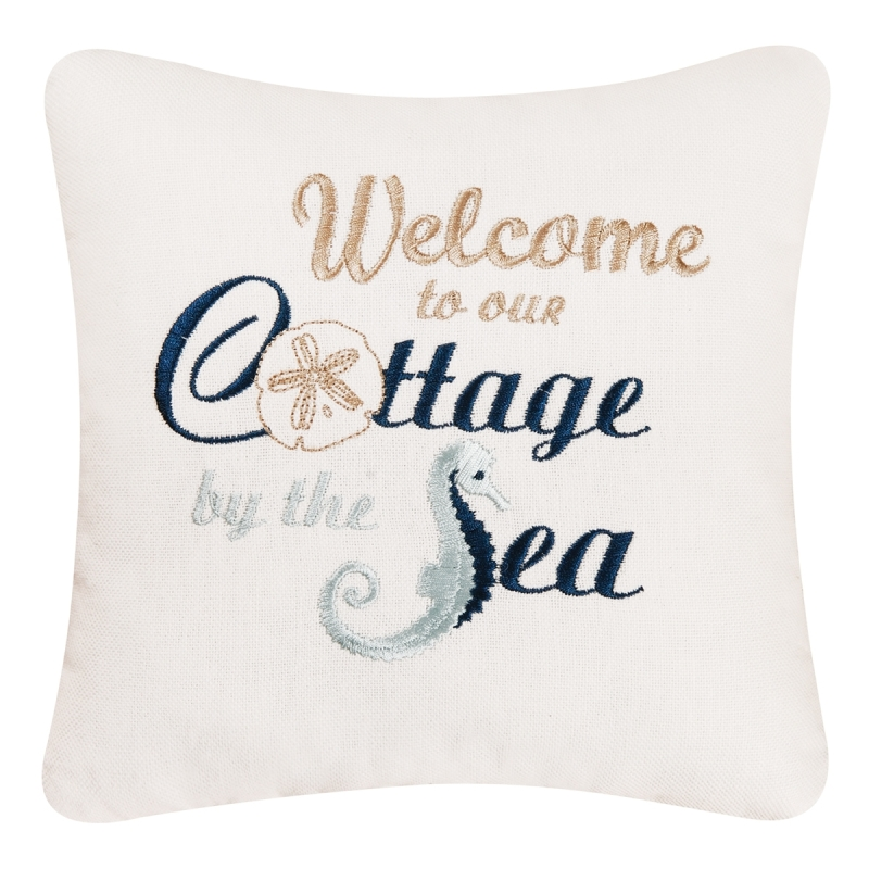 Decorative Embroidered Pillow - Cottage By The Sea - 10in