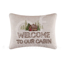 "Pillow - ""Welcome To The Cabin."""