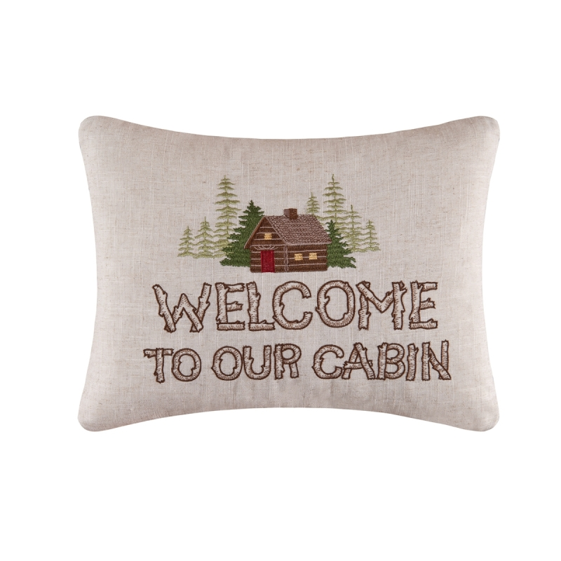 Decorative Embroidered Pillow - Welcome To The Cabin - 18in