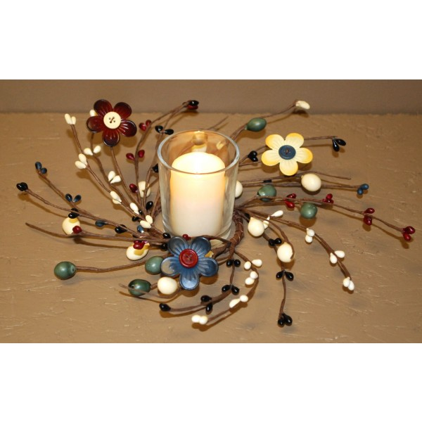Pip Berry Candle Ring - Button Flower & Pip Berries - 2.5in