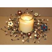 "Pip Berry Candle Ring - ""Button Flower & Pip Berries Candle Ring"" - 4.5 Inch"