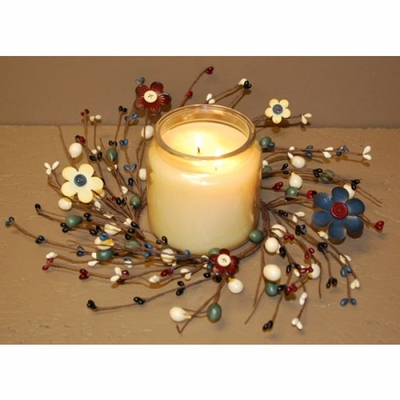 Pip Berry Candle Ring - Button Flower & Pip Berries - 4.5 Inch