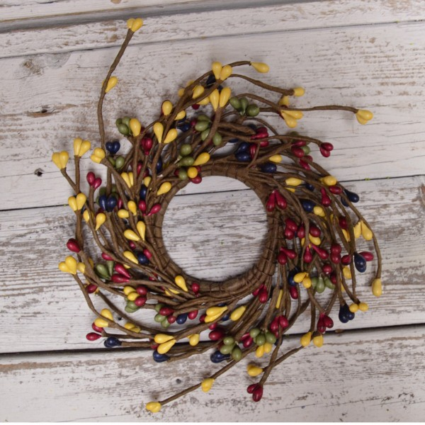 Pip Berry Candle Ring - Country Multicolor Pip Berries - 2.25in