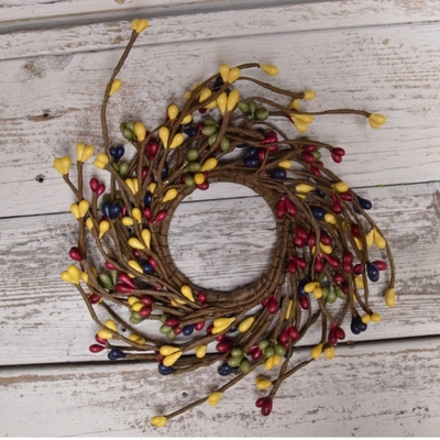 Pip Berry Candle Ring - Country Multicolor Pip Berries - 2.25 Inch