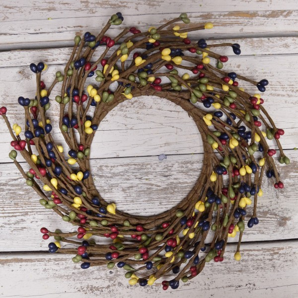 Pip Berry Candle Ring - Country Multicolor Pip Berries - 4.25 Inch