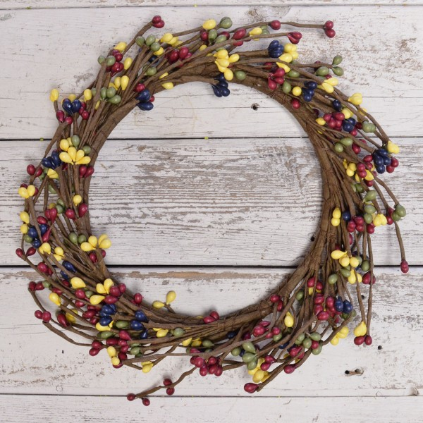 Pip Berry Candle Ring - Country Multicolor Pip Berries - 6in